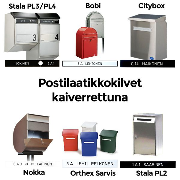 Kestävä postilaatikon nimikyltti yleisimpiin postilaatikkomalleihin
