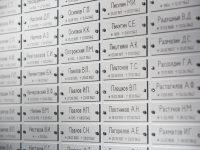 Muistolaatta alumiinilevyistä. Suojattu liukulasilla ja lukituksella