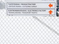 Kiinteistöopaste, kantattu alumiini tarrateksteillä. Liikennemerkkikiinnikkeet.