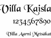 Talonumero ja talon nimikyltti, malli Villa Kaisla