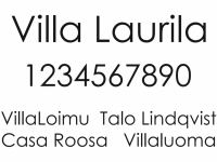 Talonumero ja talon nimikyltti, malli Villa Laurila